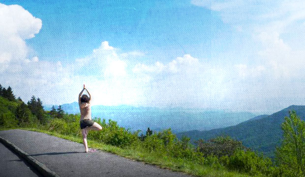 Vrksasana - tree pose over the Great Smoky Mountains