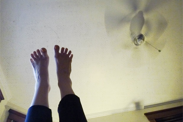 Ceiling fan cools my toes