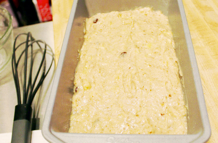 Option one: loaf of banana bread, ready to be baked