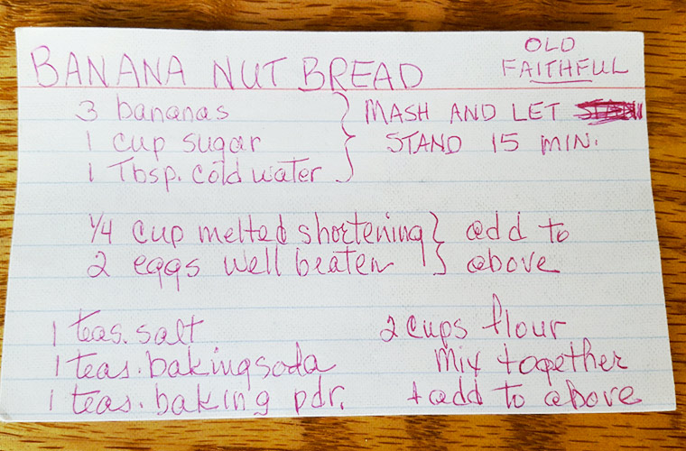 My grandma's recipe card, side one