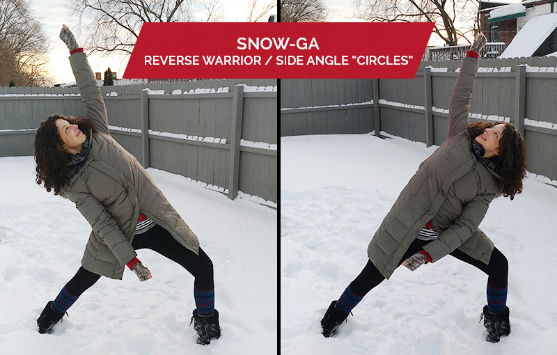 Snowga: Side angle and reverse warrior circles